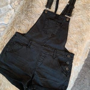 Black jean overall shorts